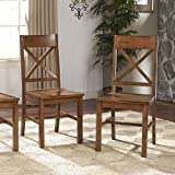 Solid Wood Antique Brown Dining Chairs, Set of 2