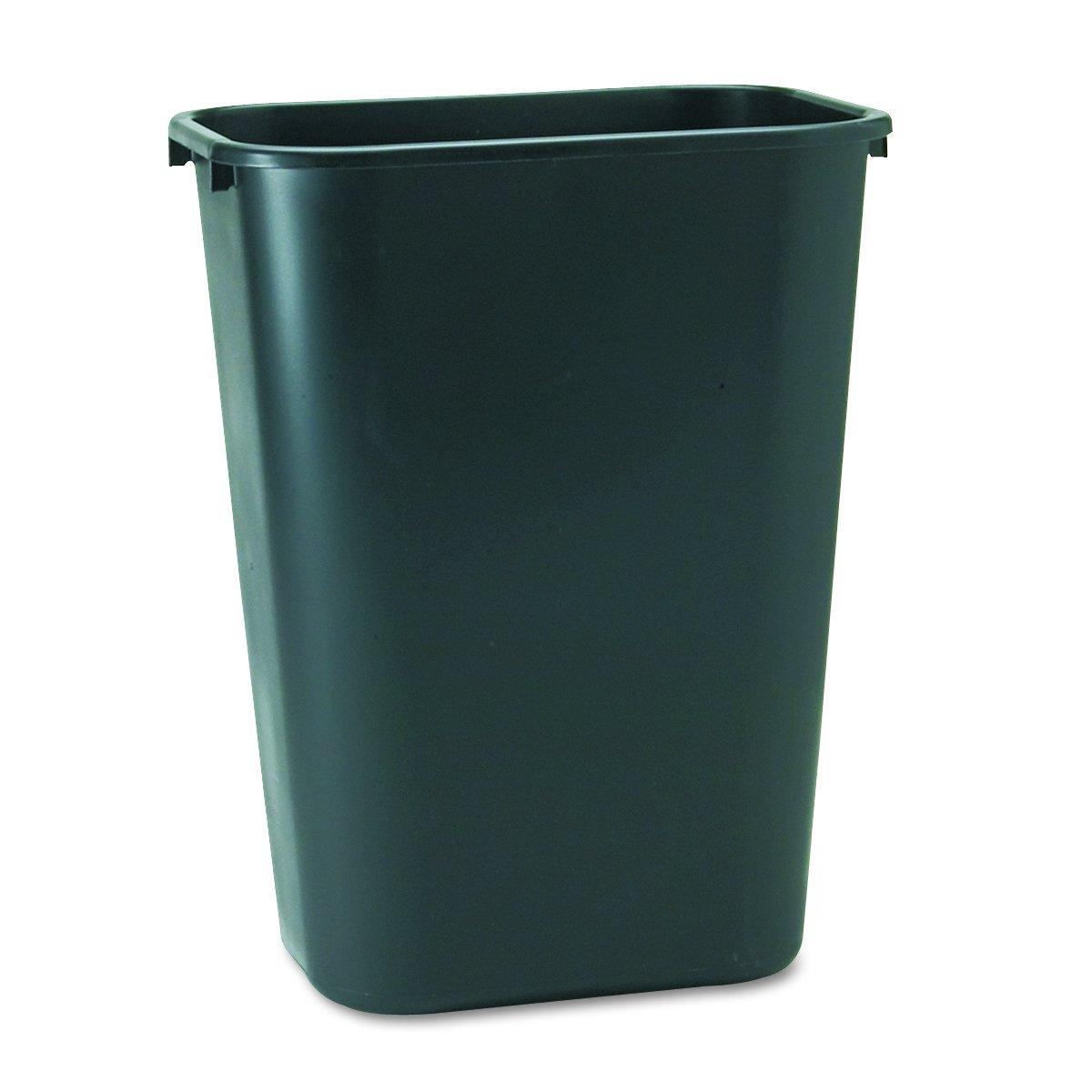 Rubbermaid Commercial 2957 10-Gallon Deskside Large Trash Can, Rectangular, 11'' Width x 15-1/4'' Depth x 19-7/8'' Height, Black