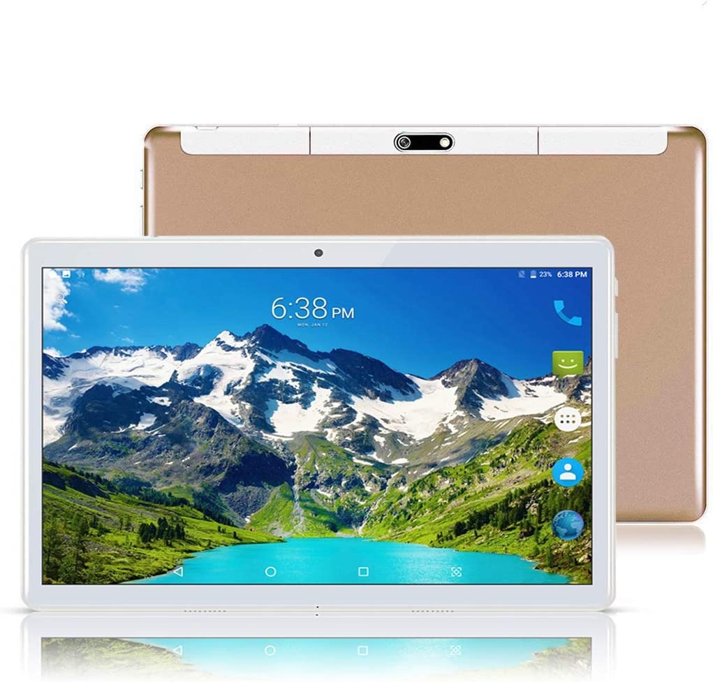 Android 8.1 Tablet 10.1 inch,Octa Core Processor,4GB RAM+64GB Storage,2MP+8MP Camera,3G Dual SIM Phablet,WiFi,GPS,OTG(Gold)