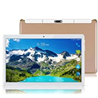 """Android 8.1 Tablet 10 Inch (10.1""""),Octa Core,3G 4G Dual SIM Phablet Tablets PC,Dual Camera,4GB Ram+64GB Disk,WiFi,GPS,OTG (Gold)"""