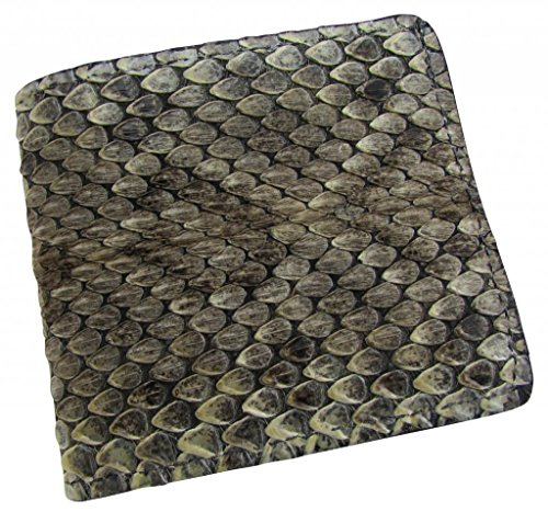 Men's Leather Genuine Rattlesnake Skin Credit Card Bifold - Skin Fold Bi Wallet