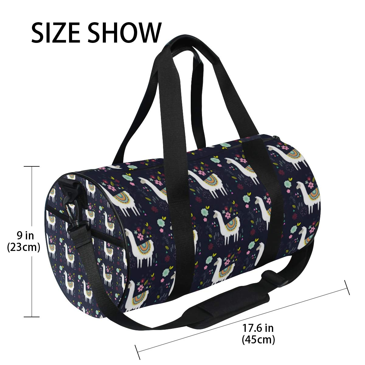Sports Gym Duffel Barrel Bag Llama Garden Floral Travel Luggage Handbag for Men Women