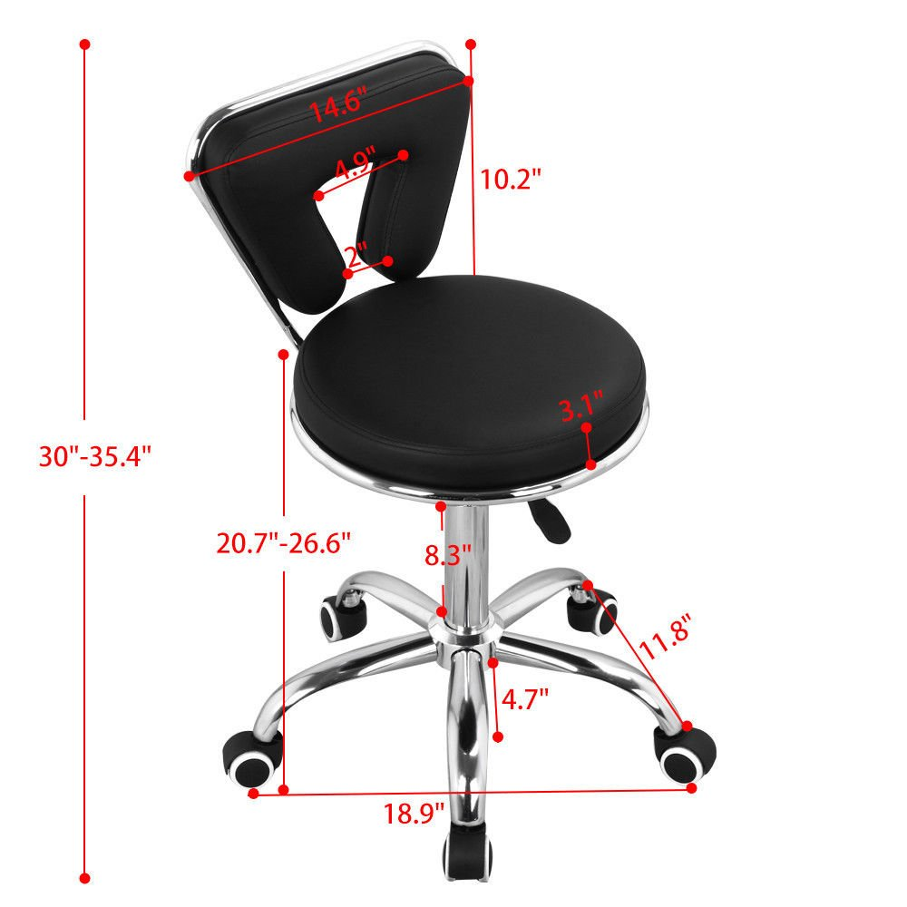 Rolling Hydraulic Bar Hair Spa Chair | Pedicure Manicure Nail Technician Facial Tattoo Artist Beauty Salon Stool
