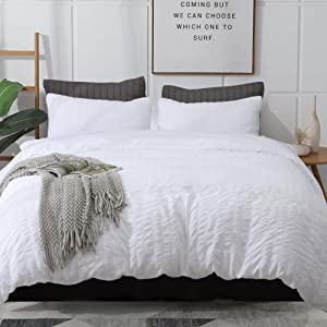 AveLom White Duvet Cover Queen (90 x 90 Inches), 3 Pieces Stripe Zipper Closure Corner Ties Soft Washed Microfiber Duvet Cover for Men, Women