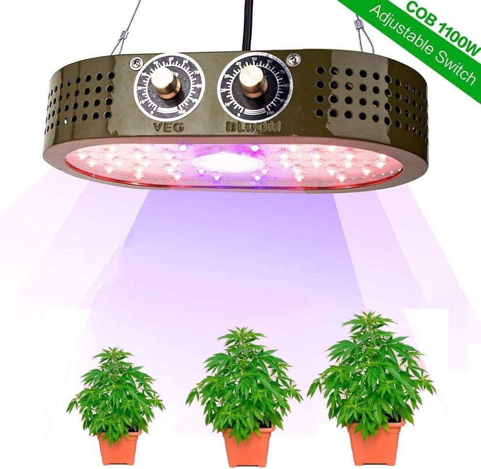 1100W COB LEDグローライト、フルスペクトル植物ライト、野菜とブルームの調整可能なノブ、屋内植物/野菜用の植物ライト