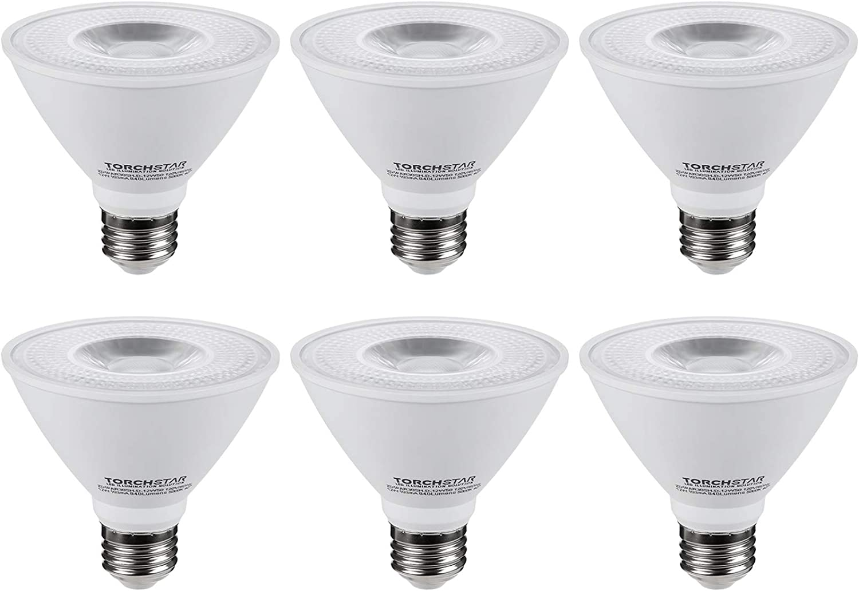 TORCHSTAR PAR30 Short Neck LED Spot Light Bulb, Dimmable, 12W 75W Equiv, High CRI90+, 5000K Daylight, 840Lm, E26 Medium Screw Base, Energy Star & UL Listed, 3 Years Warranty, Pack of 6