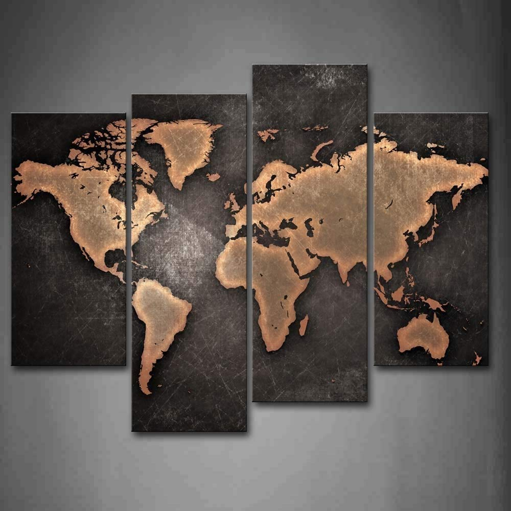 General World Map Black Background Wall Art Painting Pictures Print On Canvas Art The Picture For Home Modern Decoration First Wall Art 8222281