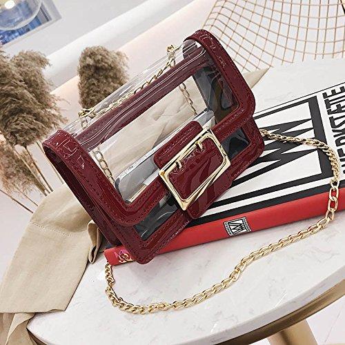 chaîne Paquet Sauvage gelée Version de WSLMHH Messenger épaule Vin Mode Paquet Petit de de carré de marée féminine coréenne Sac rouge Sac du Transparente Wq8RHqO