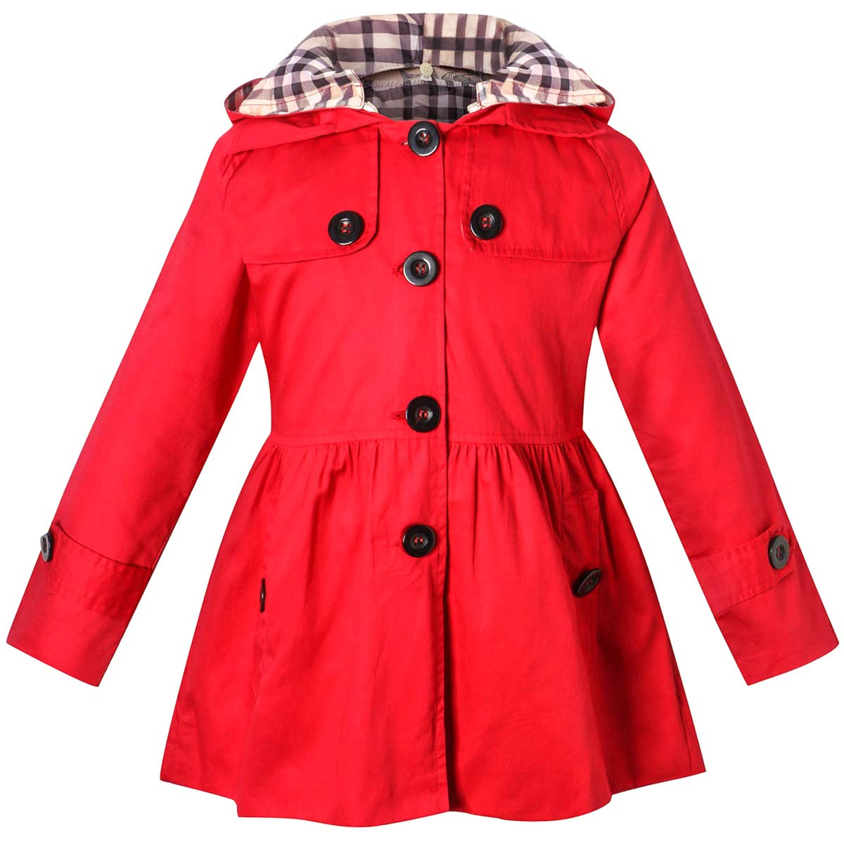 Long Sleeves Vintage Floral Print Chino Cotton Hooded Hoodie Trench Coat Outerwear Windbreaker for Little Girls & Big Girls, Red, 9-10 Years=Tag 150