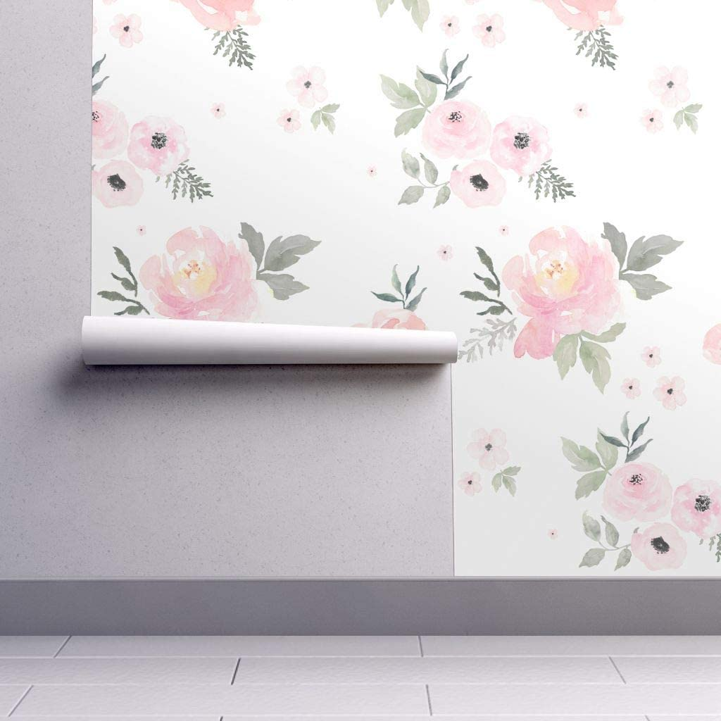 Removable Water Activated Wallpaper Pastels Floral Baby Girl