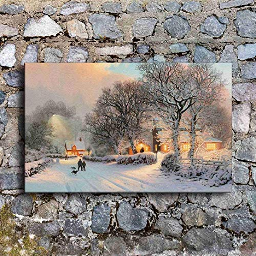SCLPOSTER Canvas Painting Wall Art Comfortable Vintage Winter Village Snow Scene Pictures for Living Room Prints Poster Home Decor 80x100cm