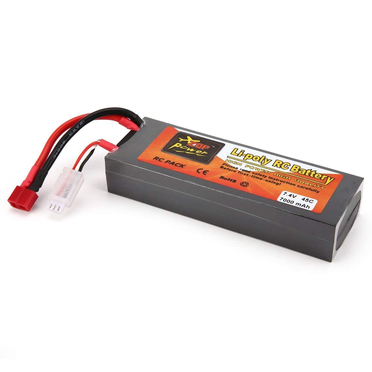 Liobaba 7.4V 7000mAh 45C 2S 1P Lipo Battery T Plug Rechargeable RC Racing Drone Quadcopter Helicopter Car Boat Model Dark-Gray