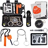 EMDMAK Survival Kit Outdoor Emergency Gear Kit for Camping Hiking Travelling or Adventures (New Black)