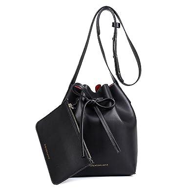 182b22ba34f2 Drawstring Bucket Bag Momtmo Pu Leather Shoulder Bag Set Crossbody Bag  Handbags for Women(S
