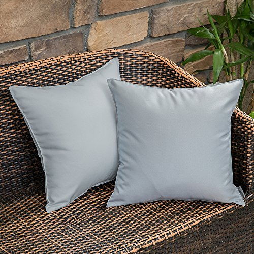 MIULEE Pack of 2 Decorative Outdoor Waterproof Pillow Cover Square Garden Cushion Case PU Coating Throw Pillow Cover Shell for Tent Park Couch 18x18 Inch Light Grey