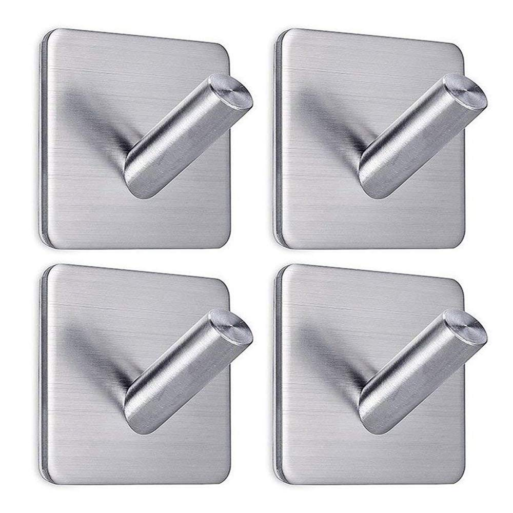 Heavy Duty Adhesive Wall Hooks, Command Hooks with Stainless Steel Stick On Home Bathroom Kitchen Ideal for Robes, Umbrellas, Clothes, Bags, Coats, Calendars, Keys - 4 Packs