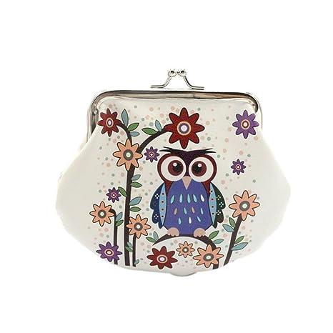 Pequeño monedero con cierre de broche de Daliuing, de cuero con diseño de búho, para mujeres y niñas, E, 14x9.5cm