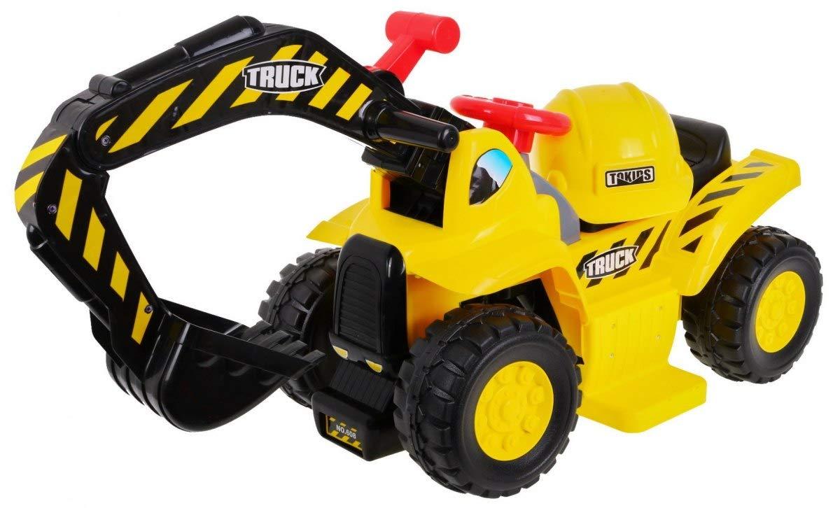 Andados Coche Electrico para Niños Portador Correpasillos - Pala Excavadora con Casco - Moviendo el Brazo y el Cubo