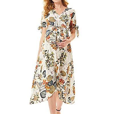 Women Maternity Long Dress Pregnanty Short Sleeve Mini Dress Fashion Print Floral Frenulum Clothes for Baby Shower: Clothing
