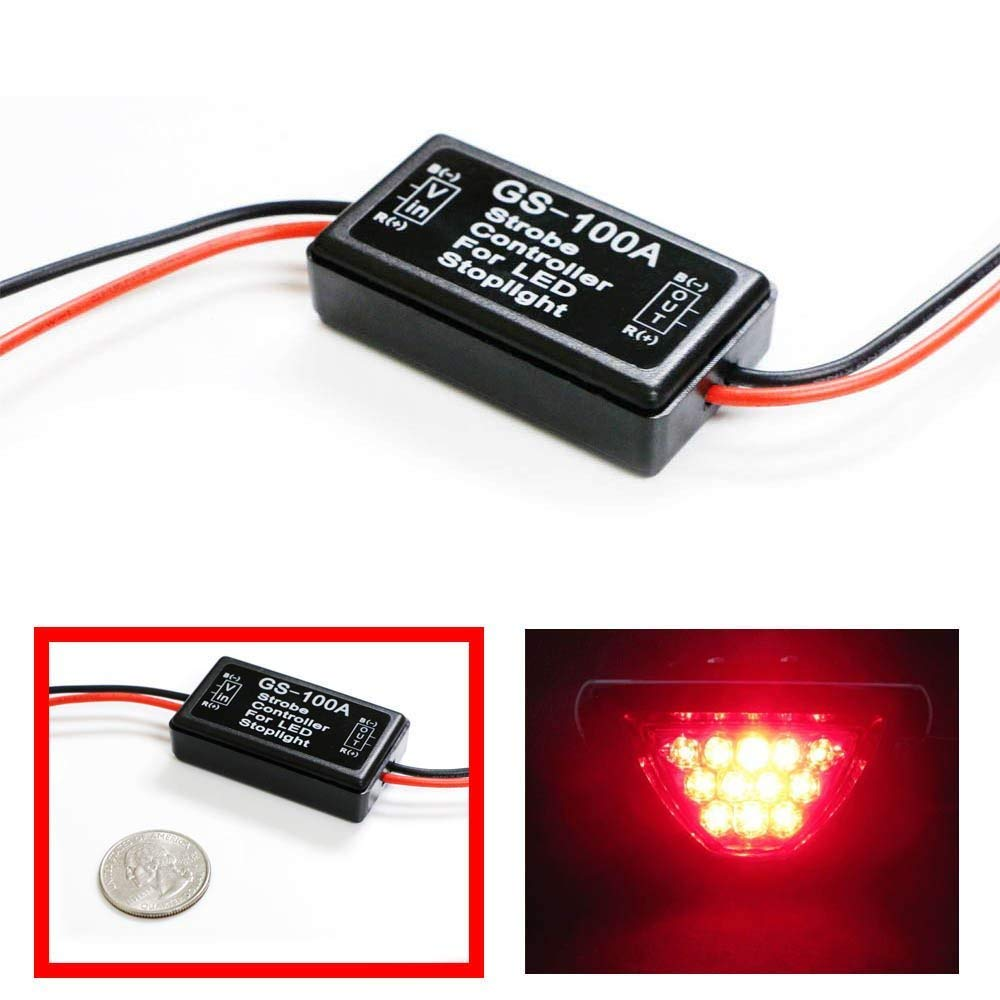 Ijdmtoy 1 12v Gs 100a Led Brake Stop Light Strobe 1996 Honda Civic Rear Lighting Wiring Diagram Flash Module Controller Box For Car Automotive