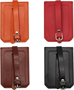 PEAK-EU 4 Pack Silicone Luggage Tag with Privacy Covers Synthetic Leather Name ID Labels Perfect to Quickly Spot Luggage Suitcase by