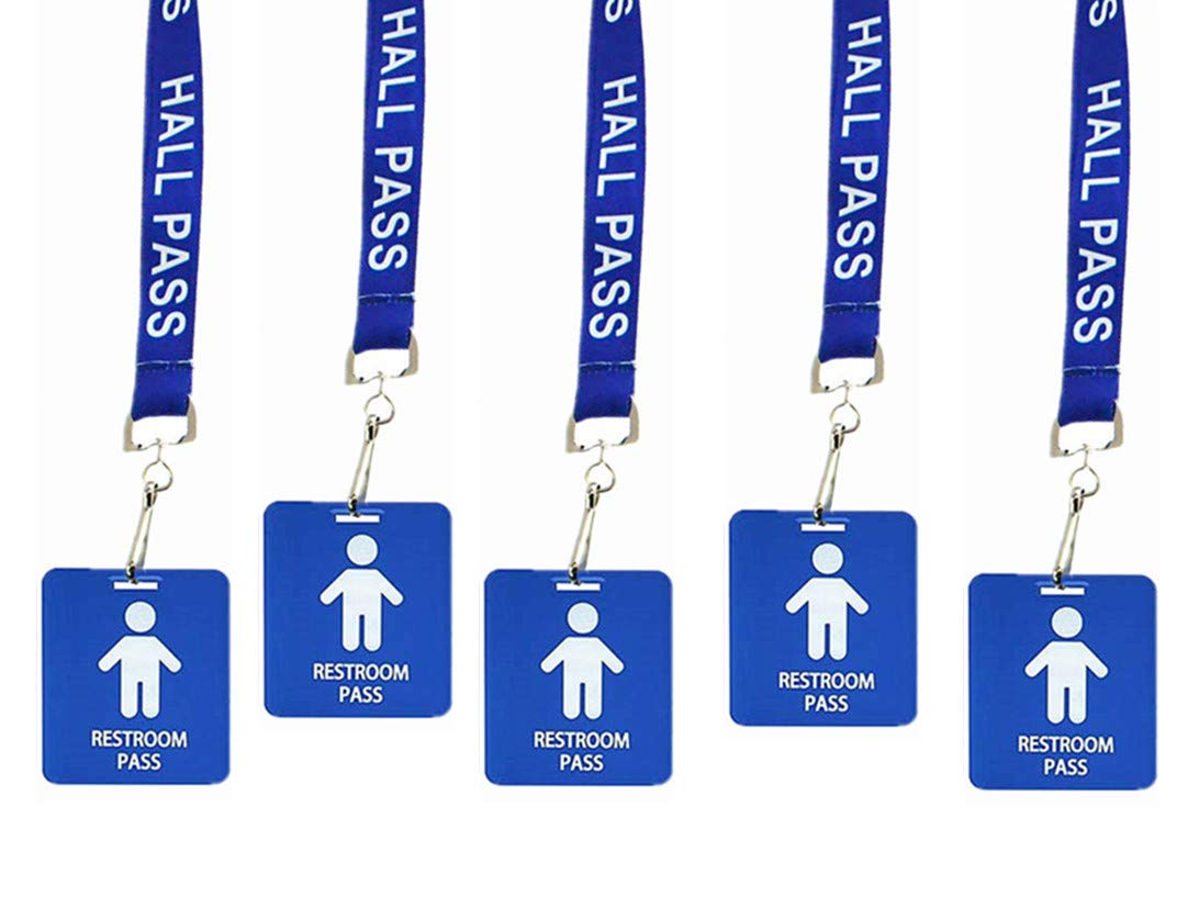 Hall Pass Lanyards with Card Passes, Unbreakable School Classroom Passes Set for Teacher Parents (Hall Bathroom Library Office & Nurse),5 Pack(Boys Restroom) by Bemaxy