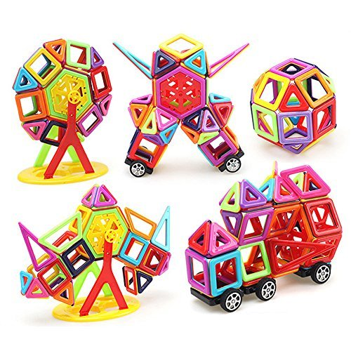 LUXJET 113PCS Magnetic Building Block Set,ABS Plastic,Creative and Educational Gift for Kids