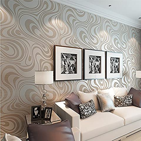 QIHANG Modern Luxury Abstract Curve 3d Wallpaper Roll Mural Papel De Parede Flocking for Striped Cream-white&silver Color (Wallpaper Luxury)