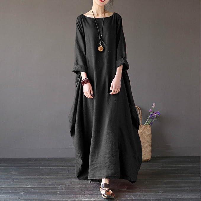 ab6c2ab114a Overdose Women Dress Plus Size Solid Long Sleeve Baggy Maxi Dress   Amazon.co.uk  Clothing