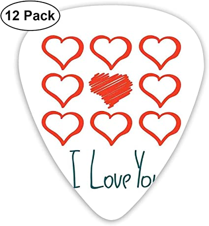 Guitar Picks 12-Pack,Hand Drawn Style Red Hearts Set Scribble I ...