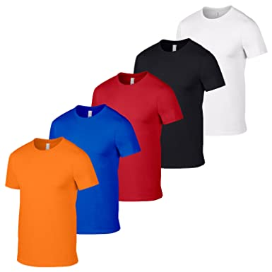 f6b20dc2 GILDAN 5 Softstyle Mens T Shirt Workwear Wholesale Tshirts and Colours Pack  5 Black: Amazon.co.uk: Clothing