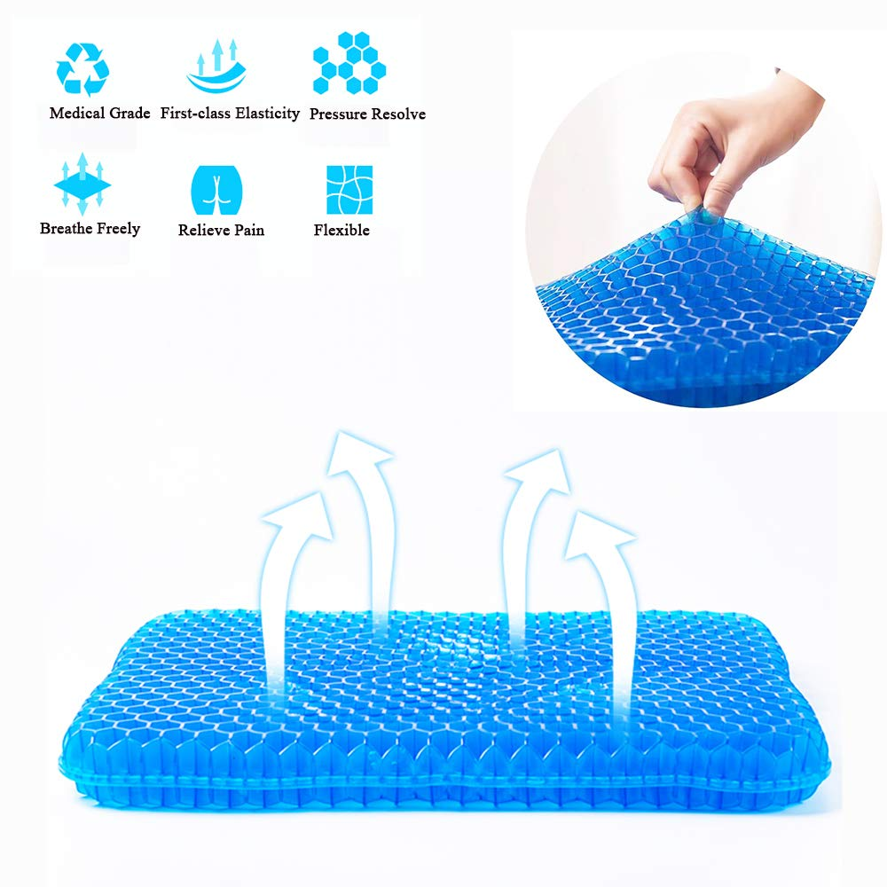 Gel Seat Cushion, Egg Seatting Cushion Wheelchair Cushion with Non-Slip Cover, Breathable Chair Pads Honeycomb Design Absorbs Pressure Points Large Comfortable Pad for Car, Office Chair, Wheelchair,