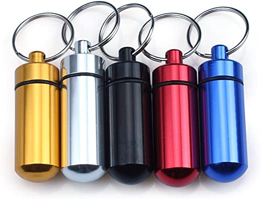 Large Aluminum Pill Box Case Bottle Holder Outdoor Container Key Ring Caming