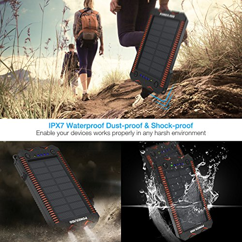 Poweradd Apollo 2 Solar Charger 12000mah Portable Solar Power Bank Waterproof/Shockproof/Dustproof Dual USB Solar Cellphone Charger for iPhone, ipad, Samsung, Android Phones, GPS, Travel and More