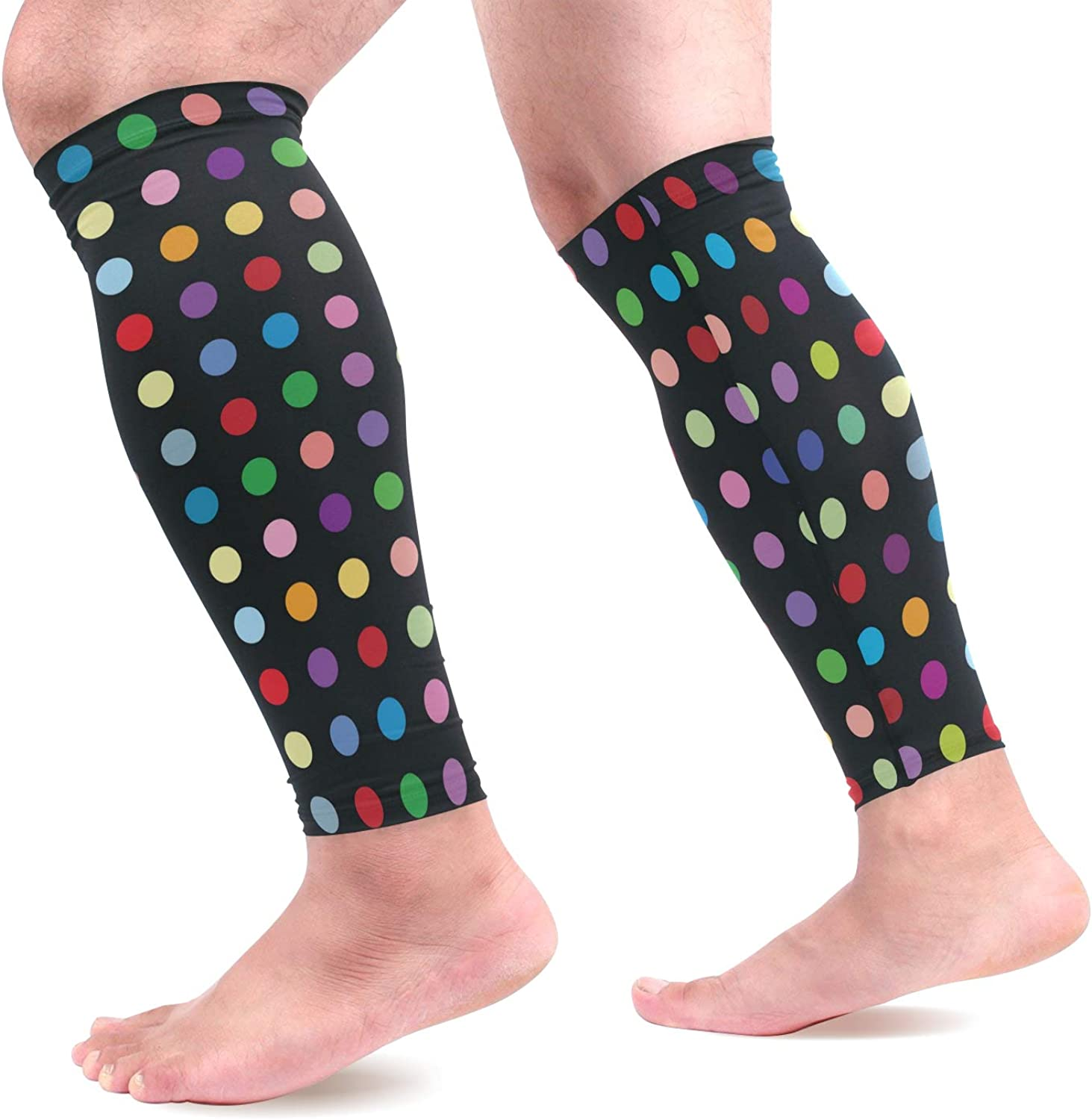 visesunny Cool Polkadots Pattern Sports Calf Support Sleeves for Muscle Pain Relief, Improved Circulation Compression Effective Support for Running, Jogging,Workout, Walking & Recovery(1 Pair)