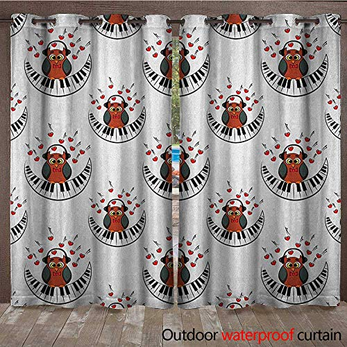 - Owls Grommet Curtain Panel Musician Pianist Owl with Headphones and Playing a Moon Shaped Piano Clipart StyleW108 x L96 Brown Grey Red