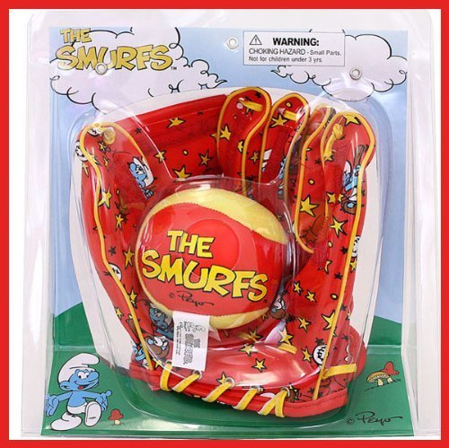 KELLYTOY THE SMURFS EASY TOSS AND CATCH MITT AND BALL - Sports Glove Velcro Baseball