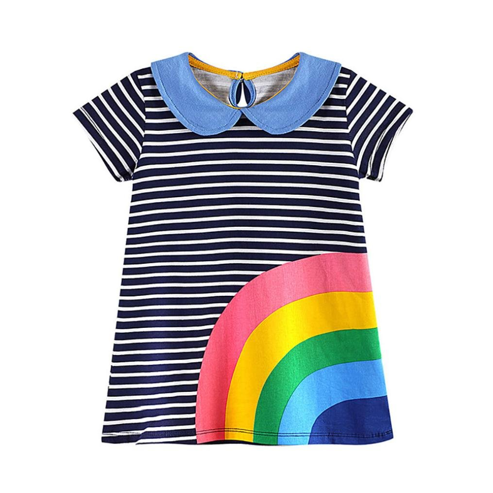 For 1-6 Years Old Kids Dress, Interent Toddler Baby Kid Girl Rainbow Embroidery Dress Stripe Dress Outfit Clothes (3T, black) Internet_8810