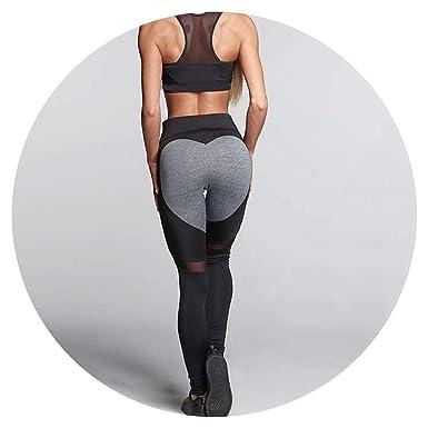 05b3ec649e7dd5 Heart Mesh Splice Legging Athleisure Fitness Clothing Elastic Leggings  Women Pants,Black and Gray,