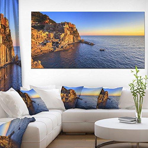 Panorama Landscape (Designart PT11374-60-28 Manarola Village Beach Panorama-Oversized Landscape Wall Art Print-60x28 1 Piece, 28'' x 60'' x 2'')