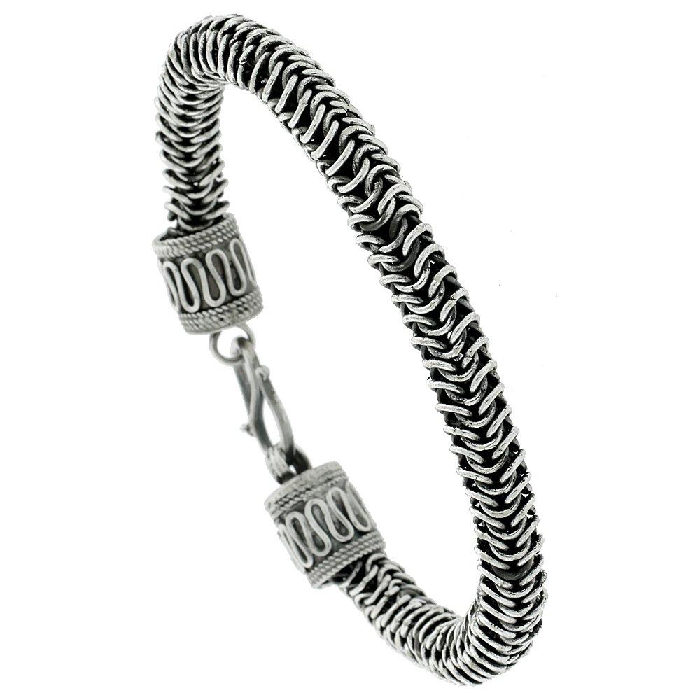 8 inch Sterling Silver Bali Style Bracelet, 3/8 inch