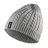 4UMOR Beanie Knit Hats Double-Deck Winter Warm Outdoor, For Travel/Hiking / Camping/Fishing / Cycling/Ski, Fits Youth/Couple, Black/Gray, One Size, Unisex (Gray)