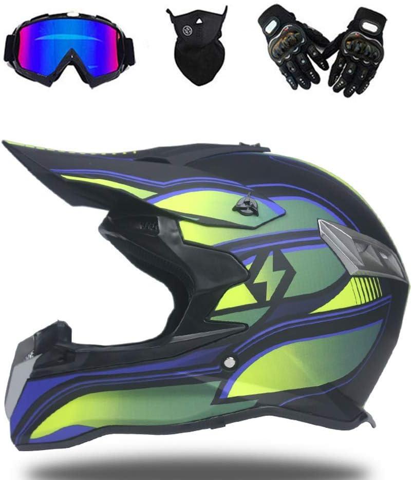 6 Style GNB Adulte Motocross Casque Off Road Moto Casque VTT Cross Dot Casques Moto Crossbike Enduro Sport avec Gants Masque de temp/ête et des Lunettes
