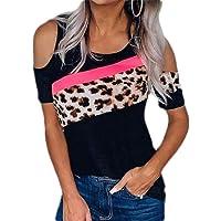 MU2M Women Shoulder Cold T-Shirt Blouse Summer Short Sleeve Leopard Print Tops