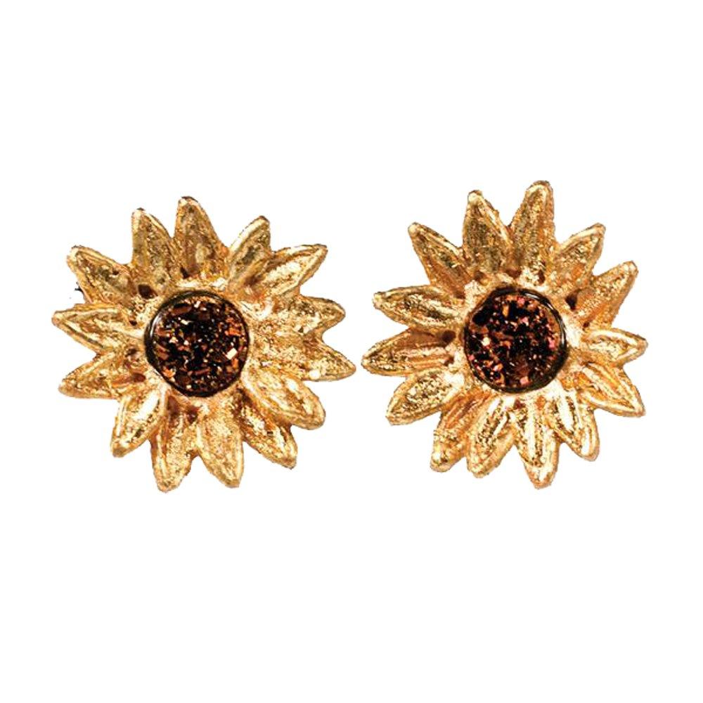 ''Sunflower'' Druzy Stud Earrings by Michael Michaud for Silver Seasons…