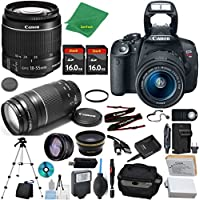 Canon Rebel T5i Camera + 18-55mm IS STM + 75-300mm III + 2pcs 16GB Memory + Case + Memory Reader + Tripod + Starter Set + Wide Angle + Tele + Flash + Battery + Charger - International Version