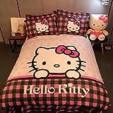 CASA Children 100% Cotton Hello Kitty Duvet cover and Pillow cases and Flat sheet,Duvet cover set,4 Pieces,Queen