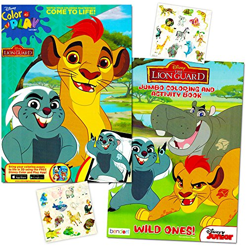 Lion Guard Coloring Book Super Set -- 2 Lion Guard Books, 2 Safari Sticker Sheets