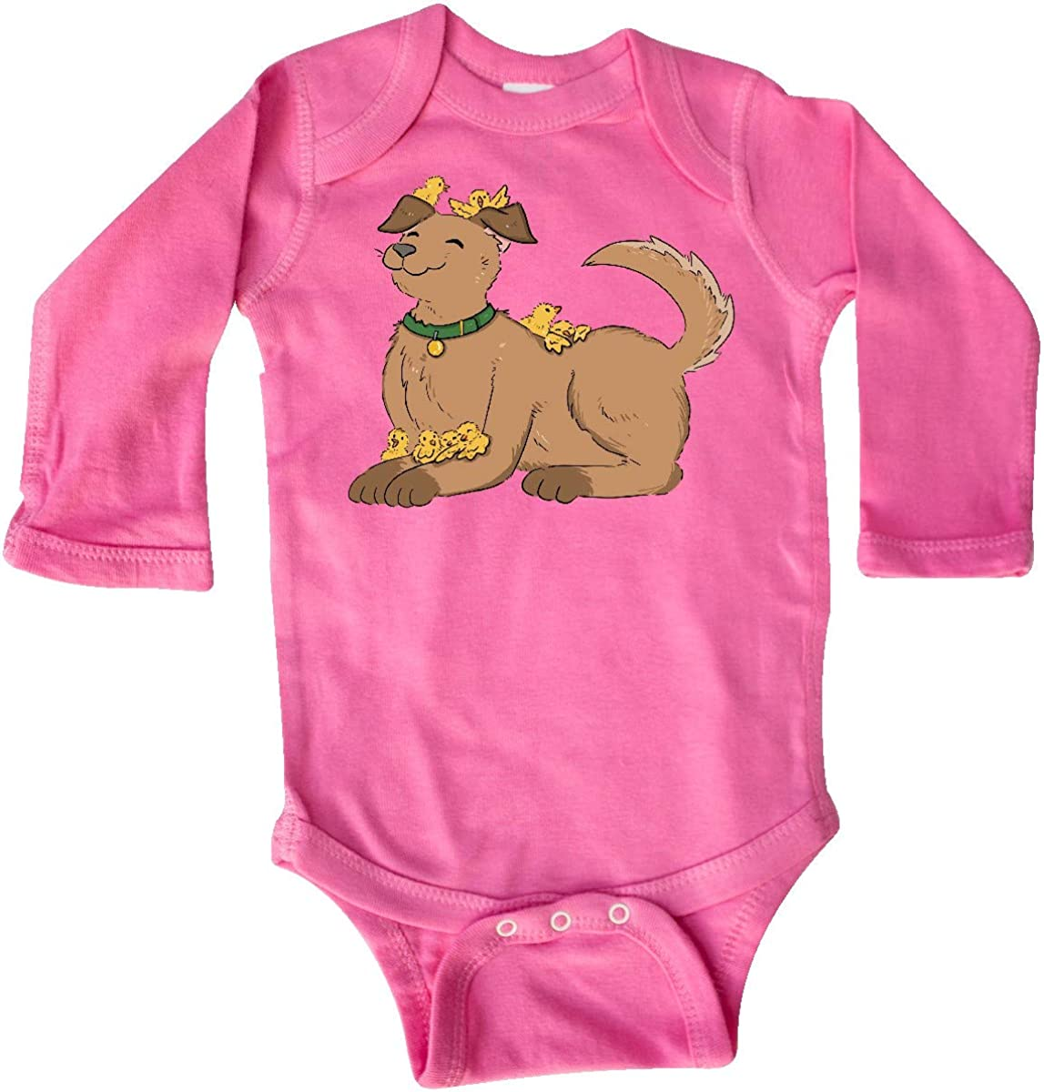 inktastic Cute Brown Dog with Easter Chicks Long Sleeve Creeper
