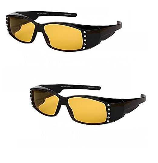 c6fb1353ab522 2 Pair of Night Driving Polarized Fitover Sunglasses with Rhinestones  (Black)